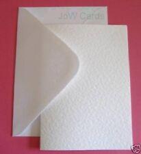50 White Hammered A6 Card & Envelopes- Wedding Invites