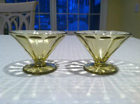 Set of 2 FEDERAL Yellow Amber Depression Glass Optic Panel Block Sherbet Cups.