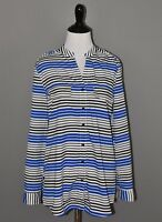 Kim Rogers Women's Blue Black Striped Long Sleeve Button Down Blouse Small NEW