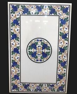 24 x 36 Inches White Marble Patio Table Inlay Coffee Table with Unique Pattern