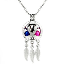 "K725 Sliver Alloy Dream Catcher Beads Cage Ribbon Aroma Locket Necklace 20""Chain"