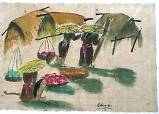 Afternoon market Orig watercolor rice paper painting  Nguyen Lien