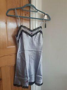 La SenZa Sexy Silk Silver grey Night Dress Chemise Babydoll size 10