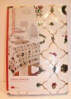 HOME Nature's Christmas Tablecloth Oblong 60x84 NEW 100% cotton Holiday