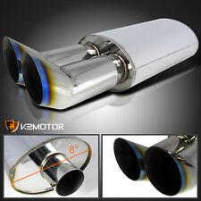 "3"" Dual Burnt Tip Euro DTM Style Stainless Steel Exhaust Muffler [Loud & Deep]"