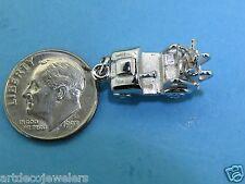 Vintage silver MOVABLE WHEELS GOLFING GOLF CART PENDANT BRACELET charm LAST #F