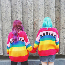Women Autumn Knitted Rainbow Striped  Cardigan V-neck Sweater Single-breasted