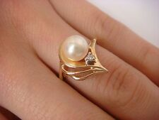 14K YELLOW GOLD PEARL AND SMALL DIAMOND LADIES RING 3.5 GRAMS SIZE 6.5