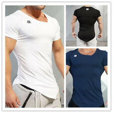 Herren Muskelshirt T-Shirt Kurzarm Shirt Asymmetrie Slim Fit Fitness Sport Gym