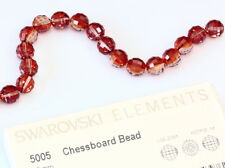 2 X Genuine SWAROVSKI 5005 Chessboard Crystal Beads Red Magma Color 12mm