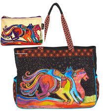 Laurel Burch Horses Lg OVERSIZED Tote Caballos de Colores RETIRED + Makeup Bag