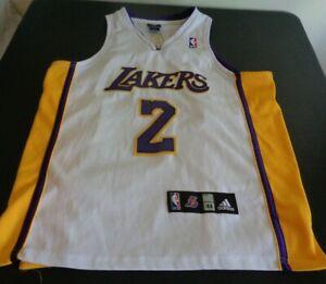 DEREK FISHER Los Angeles LAKERS Basketball ADIDAS Sewn Size 44 Jersey NBA White