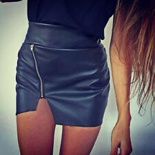 Sexy omen Asymmetric Front Zip Leather High Waist Black Mini Pencil Short Skirt