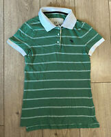 Women's Abercrombie & Fitch T Shirt Green Striped Medium 100% Cotton SLIM
