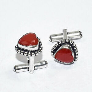Faceted Red Coral Ethnic Gemstone Handmade Gift Jewelry Cufflink