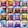 CG_ Autumn Sunflower Seascape Lavender Sailing Pattern Cushion Cover Pillow Case