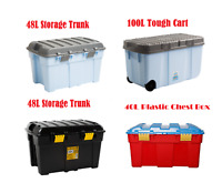 Plastic Storage Trunk Toy Chest Holder Container Clip Box Tough Cart Organizer