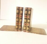 Italian Florentine Stacked Books Bookends Gilt Wood Black and Gold Vintage