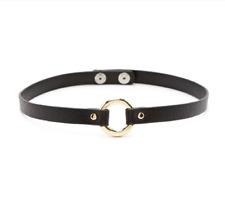 Forever 21 O-ring Metal Choker Gold Black O Ring Collar BDSM Slave Necklace