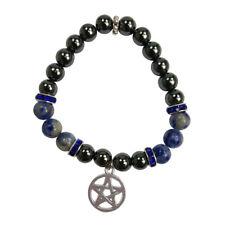 Hematite & Sodalite Beaded Elastic Stretch Power Bracelet with Pentagram Charm