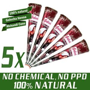 5 Stück - 100% Natural Golecha Henna Tattoo Paste Kegel Cones, Rotbraun - 125g