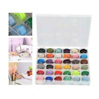 36X Sewing Machine Bobbins Thread Spools Case With Threads for Sewing Machine
