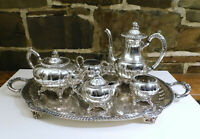 COMPLETE 6 piece SET TEA SERVING English Silver MFG Corp. 925 silver plated,USA