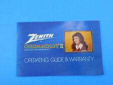 Zenith Chromacolor II Television Operating Guide & Warranty Advertising Vintage