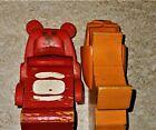 2 Vintage Plastic Moving Head Wood Body Colorful Animals RED BEAR ORANGE LION