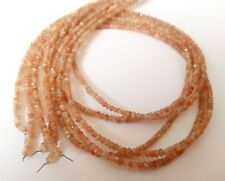 """Natural SUNSTONE Gemstone 3-4mm Rondelle Faceted Jewelry Beaded 17"""" Necklace"""