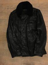 Polo Ralph Lauren Black Label Leather Shearling Jacket Size M