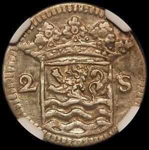 1734 Netherlands Zeeland 2 Stuiver Silver Coin - NGC AU 58 - KM# 59 - TOP POP-1