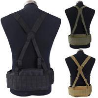 Outdoor Tactical MOLLE Battle Waist Belt with X-Shaped Suspenders Duty Belt Case