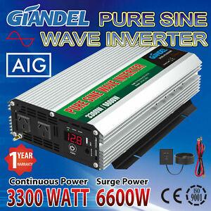 Pure Sine Wave Power Inverter 3300W/6600W 12V-240V USA Transistors Large Shell