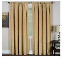 """New Elrene Home Cachet Faux Silk 3-in-1 Lined Window Top Panel 52"""" x 95"""" Caramel"""