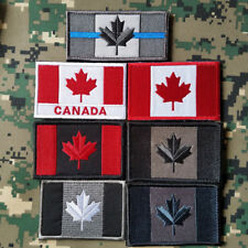 7PCS CANADA FLAG CANADIAN MAPLE LEAF TACTICAL EMBROIDERED HOOK PATCH BADGE