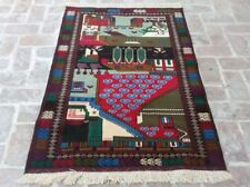 3'2 x 4'10 Best quality handmade afghan tribal baluchi pictorial wool area rug