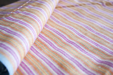 Vtg Linen Cotton Woven Bulgarian Fabric Striped Orange Purple Yellow Blue 2 1/3y