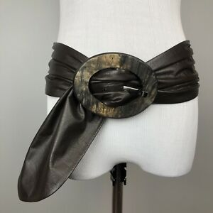 Suzi Roher Brown Soft Leather Fabric Wide Belt Large