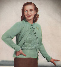 Vintage Knitting Pattern Lady's 1940s Jumper & Cardigan. 38 to 42 Inch Bust.