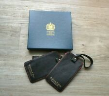 NEW Boxed Pair of G.Collins & Sons Leather Travel Luggage Tags Premium HM Queen