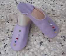 MOROCCAN  SOFT LEATHER SLIPPERS * 4/37 * LILAC
