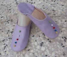 MOROCCAN  SOFT LEATHER SLIPPERS * 6/39 * LILAC
