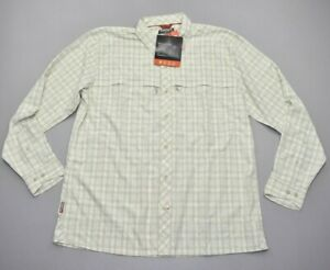 NEW Simms Men's Stone Cold LS Shirt Khaki Plaid Blue Size S 30+ UPF