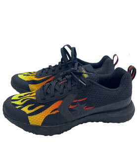Converse STAR SERIES RN OX BLACK, YELLOW, RED with FLAMES Size 8 166444C New