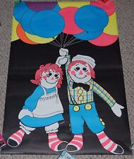 RAGGEDY ANN & ANDY Clown Dolls Balloon Art Blacklight Poster 1975 Acme #109