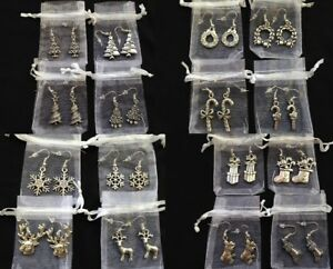 Ten Pairs Hypoallergenic Christmas Earrings Silver Mixed Job Lot Gift Bags x10