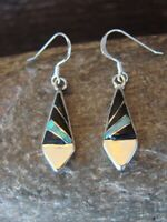 Zuni Indian Jewelry Sterling Silver Opal and Onyx Inlay Earrings Jonathan Shack