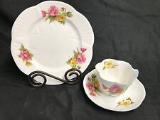 """Shelley England """"BEGONIA"""" Lunch Plate ~ 8"""",  Teacup & Saucer ~ 2 1/4"""" Tall"""