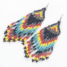 Bohemian Multicolour Seed Beaded Long Tassel Drop Dangle Earrings Jewelry Gift